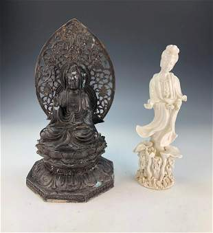 TWO 2 CHINESE MIXED STATUES