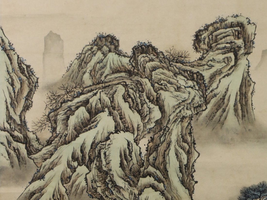 A Chinese Paper Hanging Painting Scroll By Yuan Yao - 2