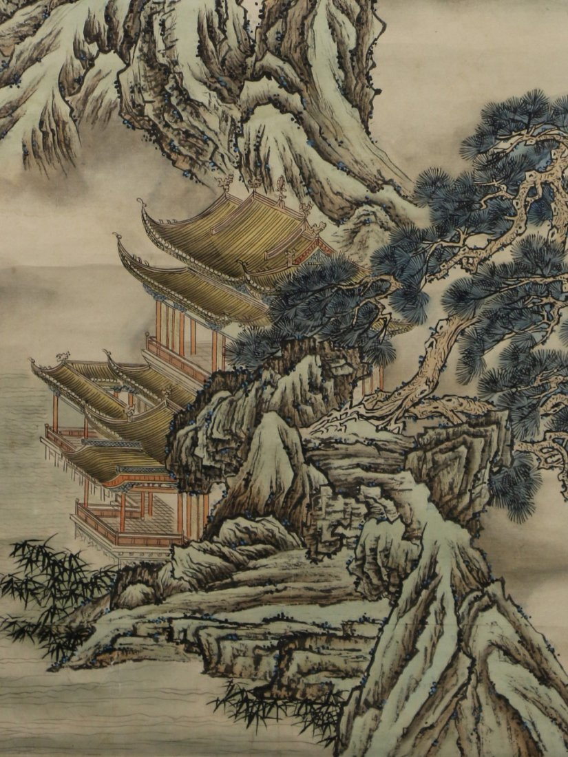 A Chinese Paper Hanging Painting Scroll By Yuan Yao - 3