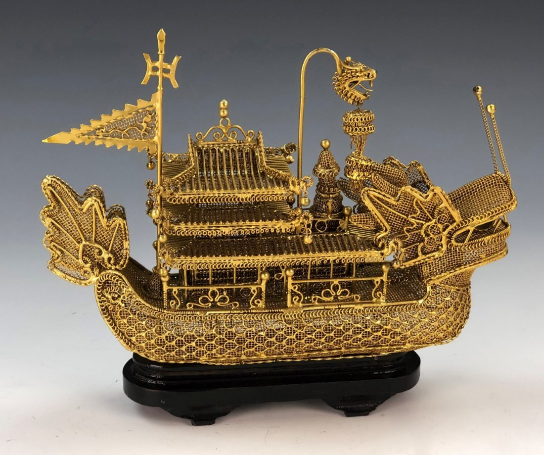 A CHINESE GILT METAL BOAT - 2