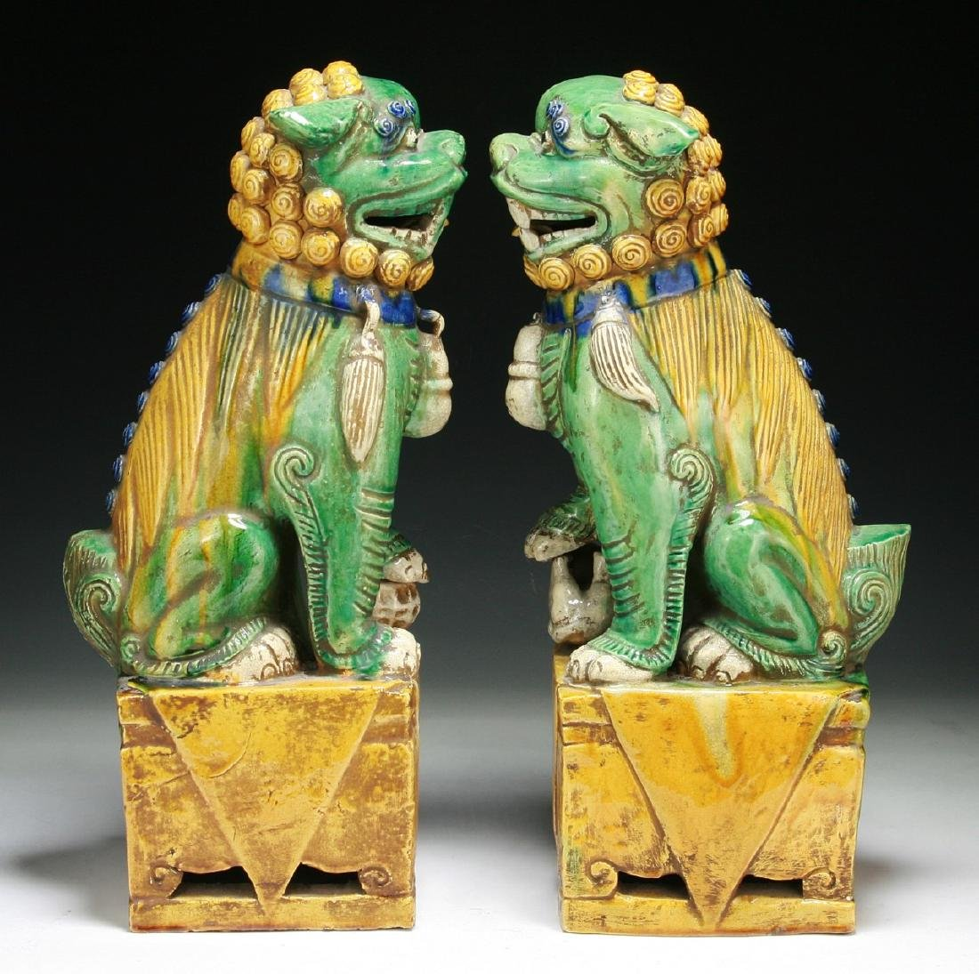 Pair of Chinese Famille Noire Porcelain Lions - 2
