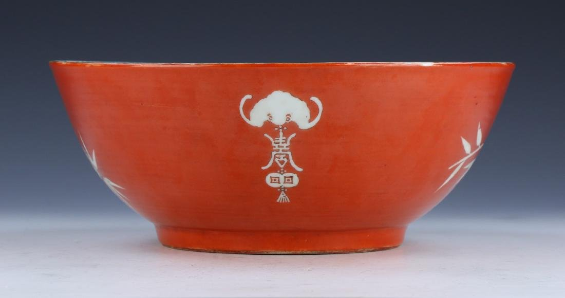 A BIG CHINESE FAMILLE ROSE PORCELAIN BOWL - 2
