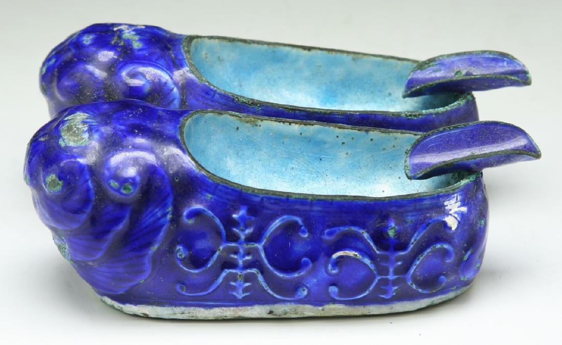 PAIR CHINESE CLOISONNE ON SILVER SHOES - 2