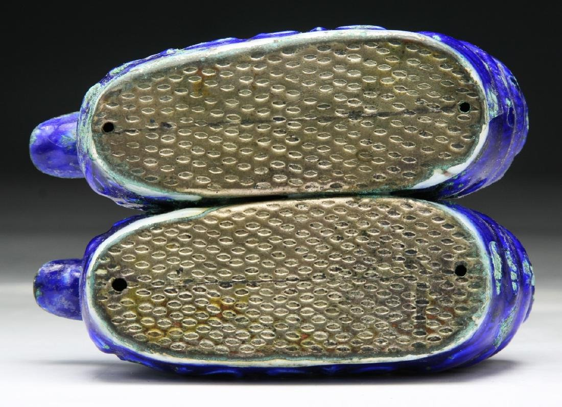 PAIR CHINESE CLOISONNE ON SILVER SHOES - 3
