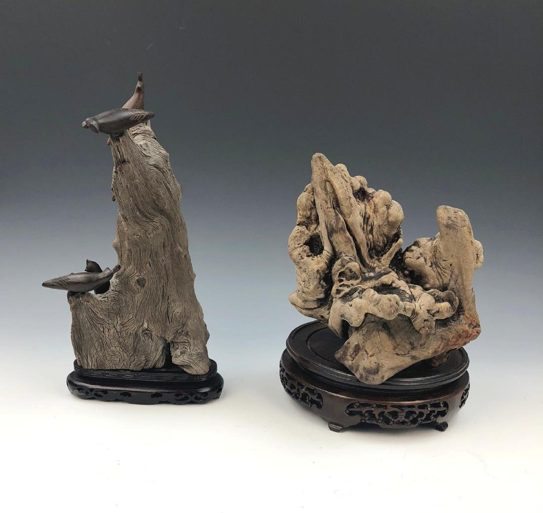 TWO (2) WOOD CARVINGS WITH STANDS