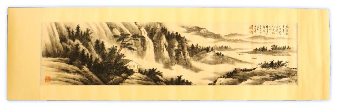 PAIR CHINESE PAPER HANGING PAINTING SCROLLS - 6