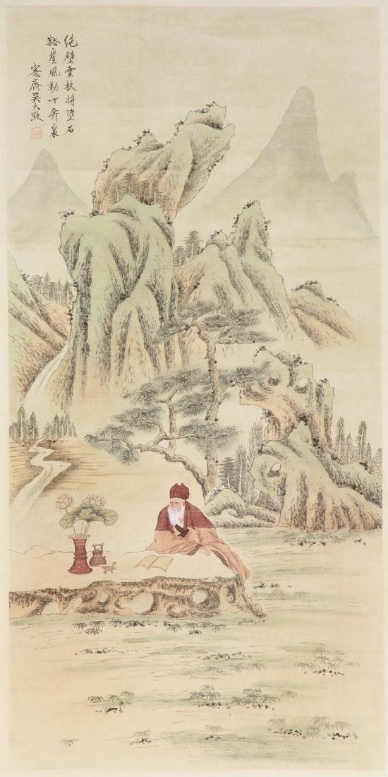 A Chinese Paper Painting Scroll By Wu Dazheng