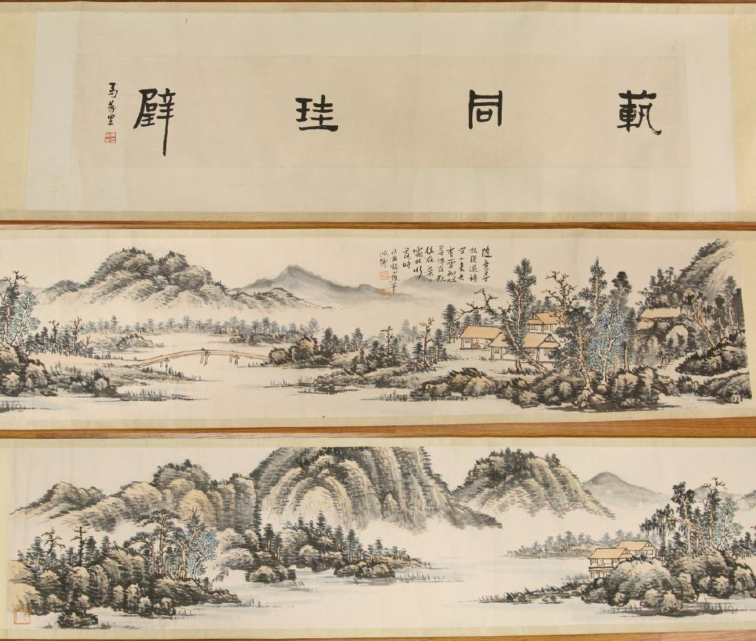 A LONG CHINESE HORIZONTAL PAPER HANGING PAINTING SCROLL