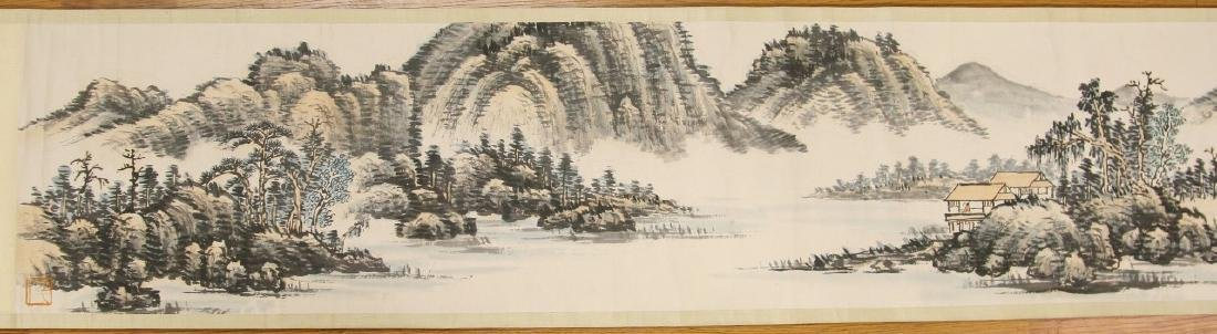 A LONG CHINESE HORIZONTAL PAPER HANGING PAINTING SCROLL - 3