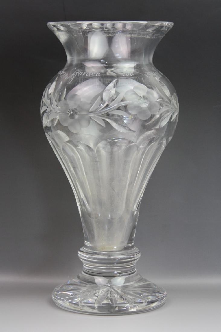 Large Crystal Glass Vase Signed