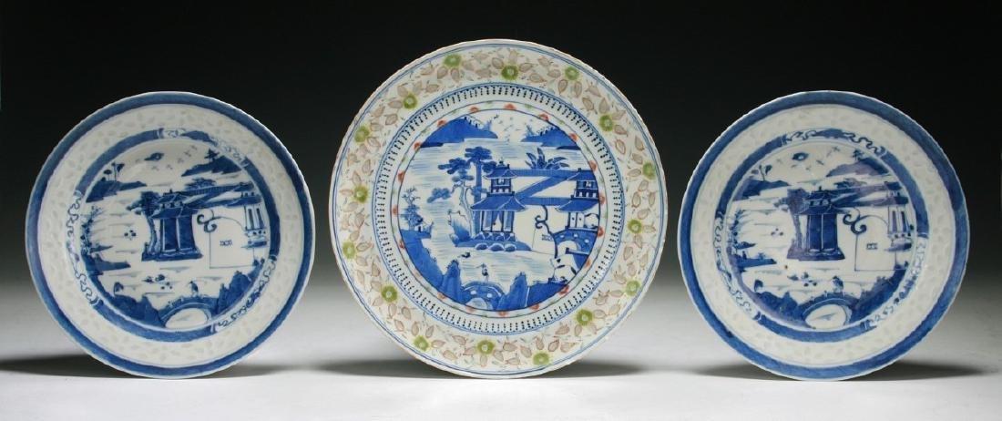 Three (3) Blue & White Porcelain Plates