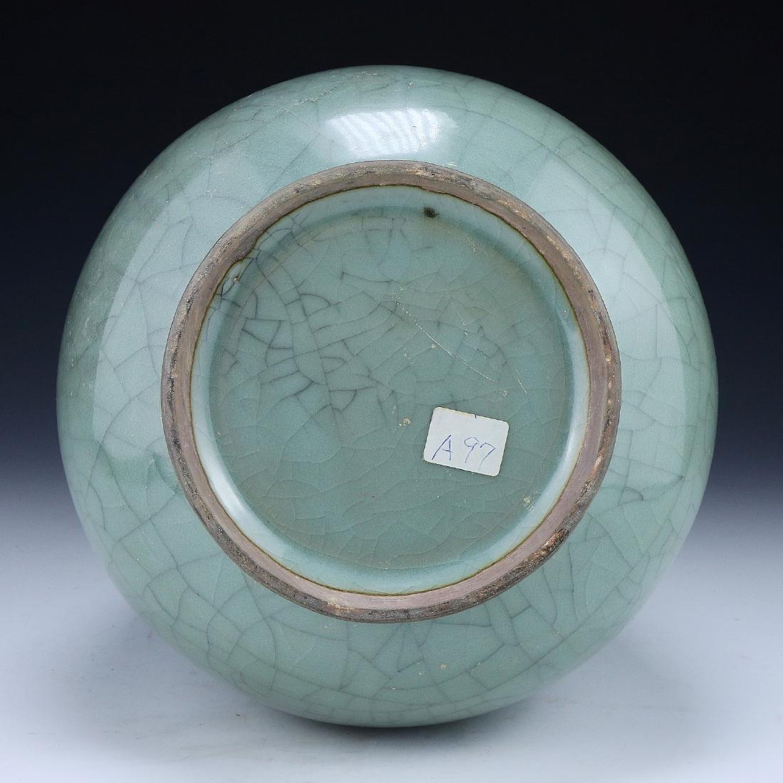 A CHINESE CELADON GLAZED VASE - 4