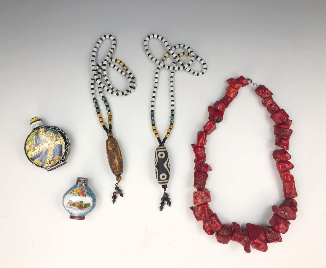 THREE (3) NECKLACES & TWO (2) SNUFF BOTTLES