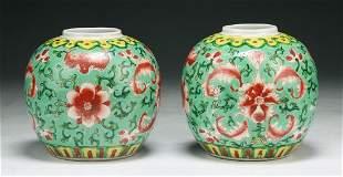 PAIR CHINESE FAMILLE ROSE PORCELAIN JARS