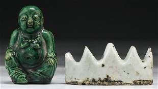 TWO 2 CHINESE PORCELAIN BRUSH REST FIGURE