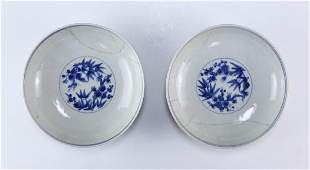 PAIR CHINESE FAMILLE ROSE PORCELAIN PLATES