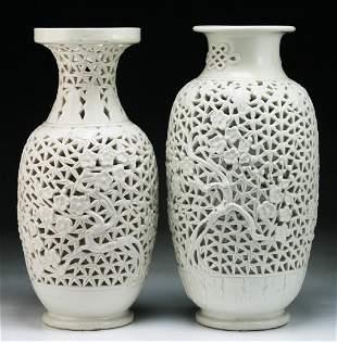 TWO 2 CHINESE WHITE GLAZED PORCELAIN VASES