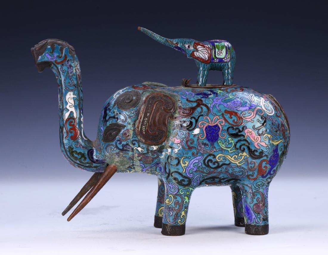 A CHINESE CLOISONNE ENAMEL ELEPHANT - 3