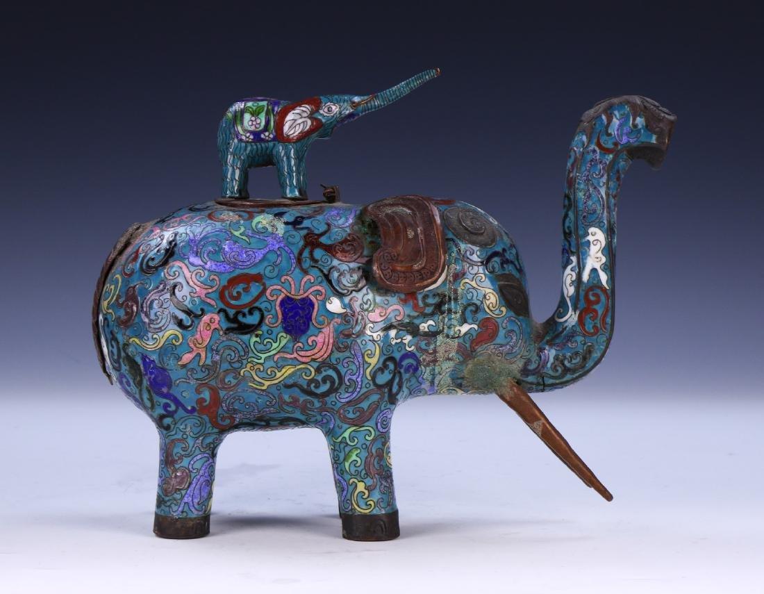 A CHINESE CLOISONNE ENAMEL ELEPHANT - 4