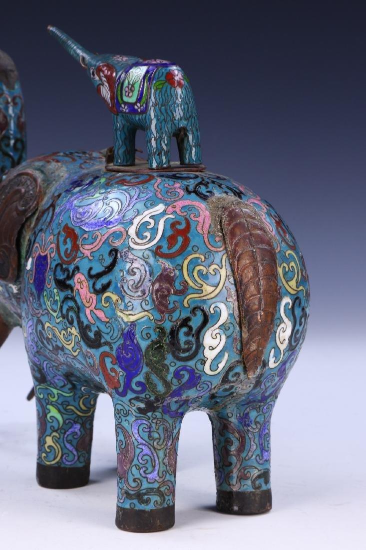 A CHINESE CLOISONNE ENAMEL ELEPHANT - 6