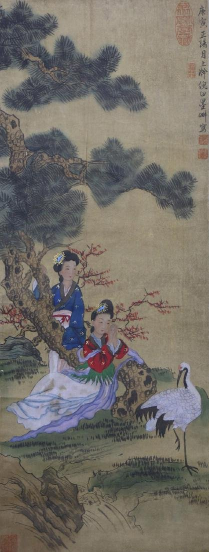 A JAPANESE PAPER HANGING PAINTING SCROLL