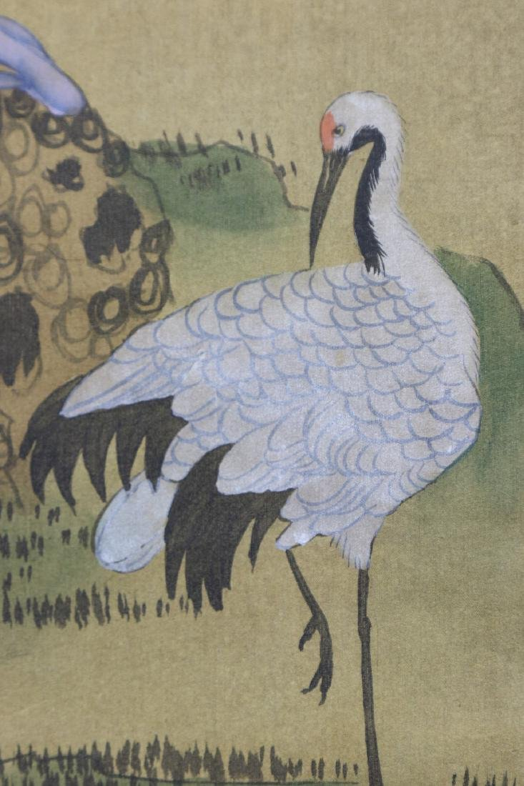 A JAPANESE PAPER HANGING PAINTING SCROLL - 3