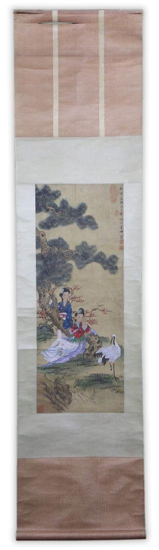 A JAPANESE PAPER HANGING PAINTING SCROLL - 5