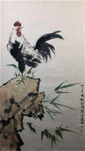 A CHINESE PAPER PAINTING HANGING SCROLL BY XU BEIHONG