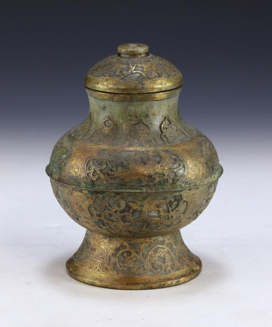 A CHINESE ARCHAIC BRONZE & JADE LIDDED VESSEL - 2
