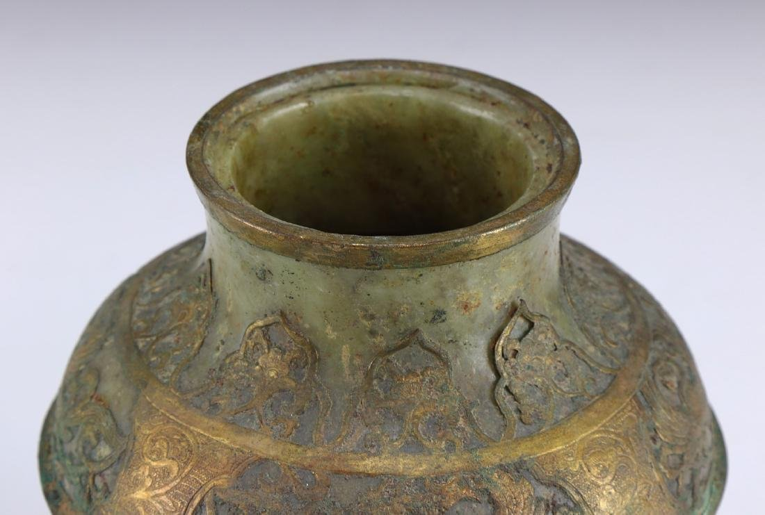 A CHINESE ARCHAIC BRONZE & JADE LIDDED VESSEL - 3