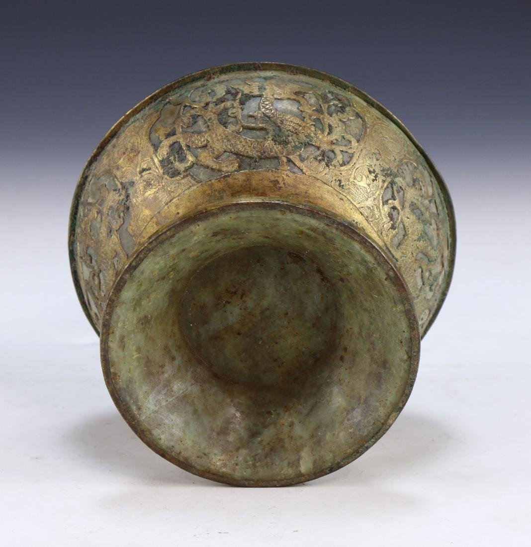A CHINESE ARCHAIC BRONZE & JADE LIDDED VESSEL - 4