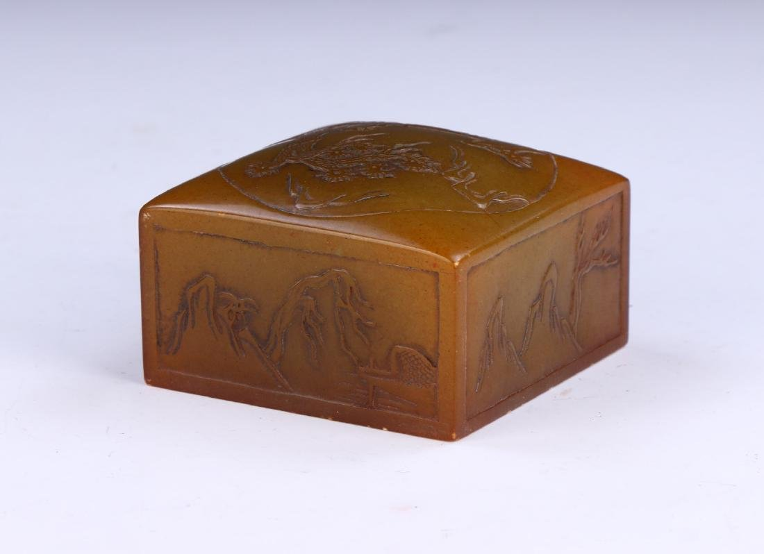 A CHINESE SOAPSTONE CARVED SEAL - 2
