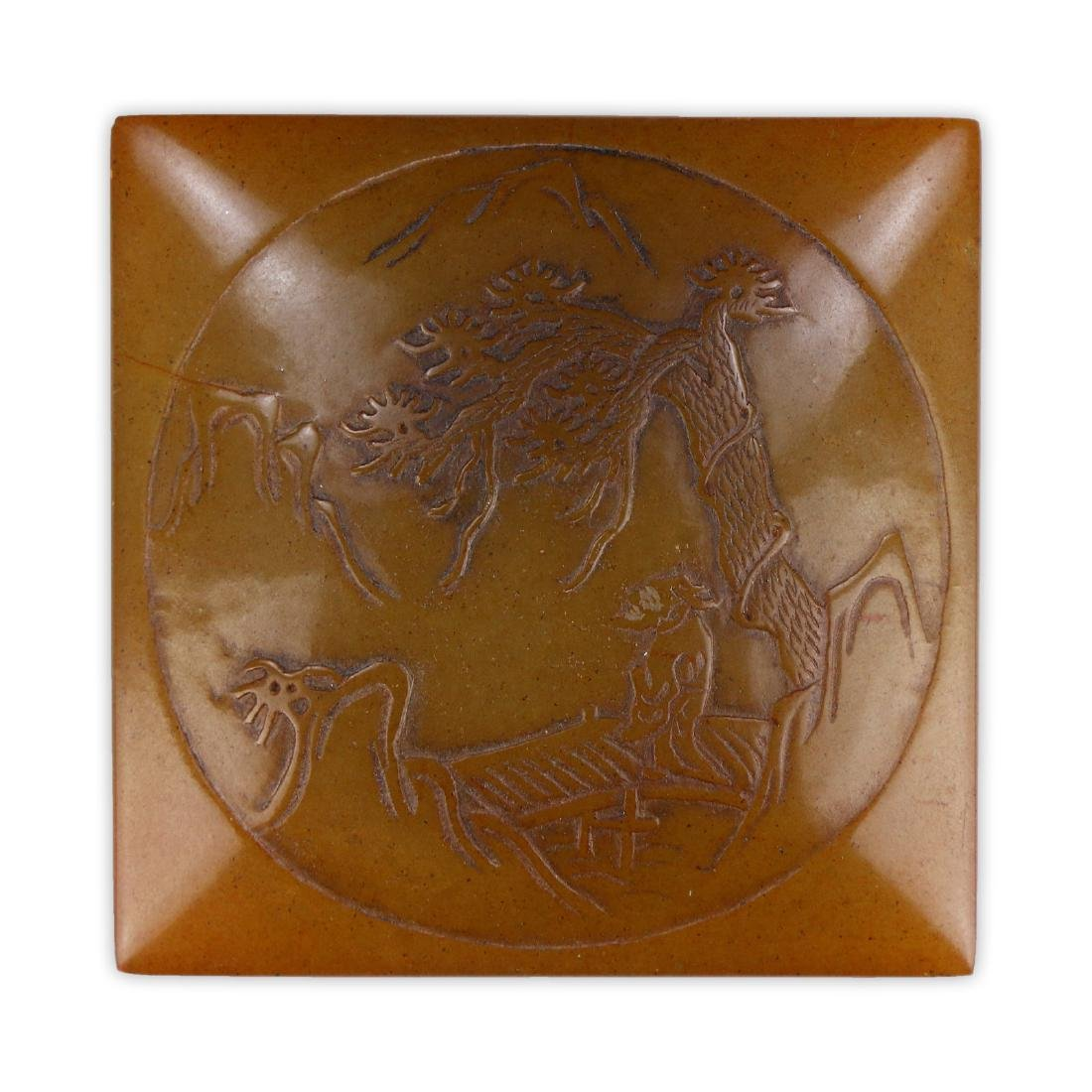 A CHINESE SOAPSTONE CARVED SEAL - 3