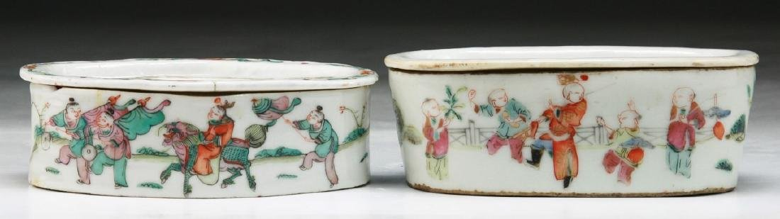 TWO (2) CHINESE FAMILLE ROSE PORCELAIN CRICKET CAGES