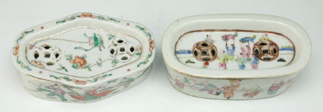 TWO (2) CHINESE FAMILLE ROSE PORCELAIN CRICKET CAGES - 3