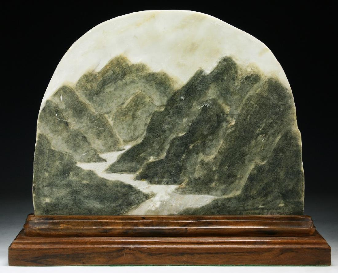 A Marble And Wood Table Screen