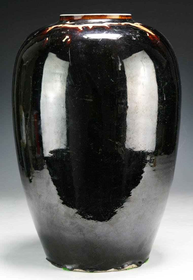 A Big Chinese Black Glazed Porcelain Vase - 2
