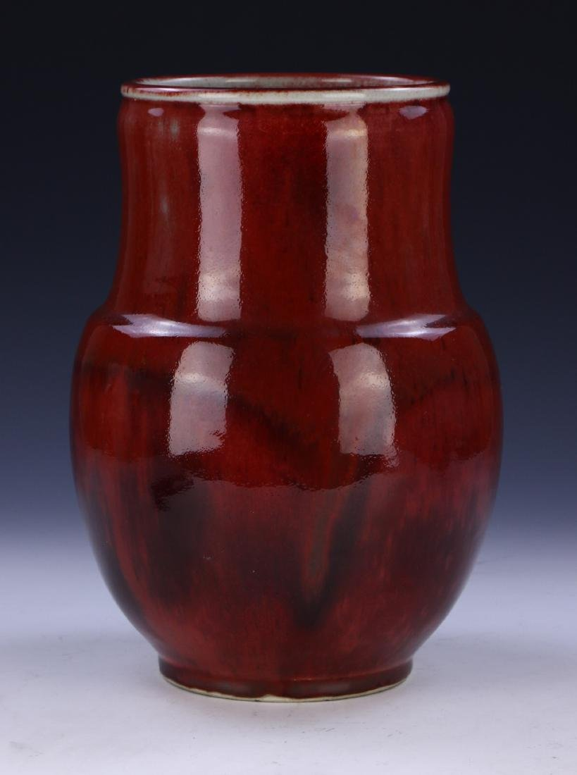 A CHINESE OX BLOOD GLAZED PORCELAIN VASE - 2