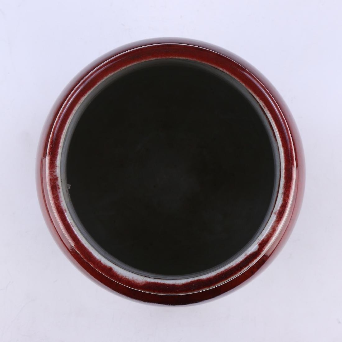 A CHINESE OX BLOOD GLAZED PORCELAIN VASE - 3