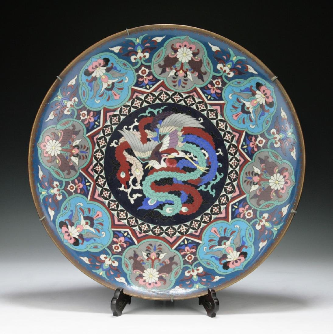 A FINE & BIG JAPANESE SILVER ANDO CLOISONNE PLATE
