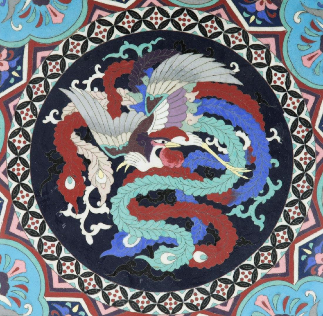 A FINE & BIG JAPANESE SILVER ANDO CLOISONNE PLATE - 2