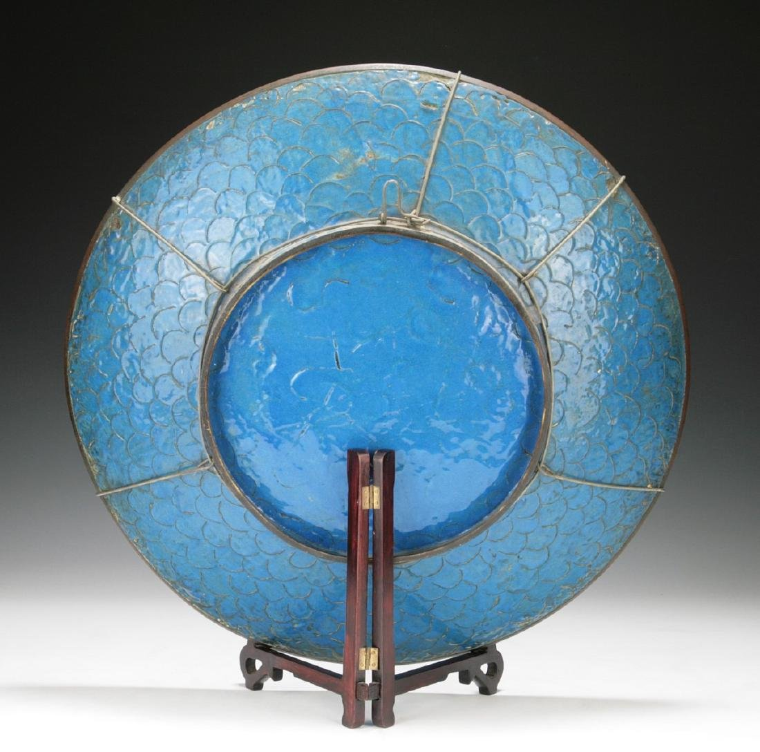 A FINE & BIG JAPANESE SILVER ANDO CLOISONNE PLATE - 3