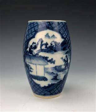 A CHINESE BLUE WHITE GLAZED PORCELAIN POT
