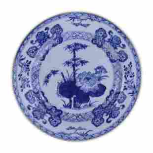 A CHINESE BLUE WHITE PORCELAIN PLATE