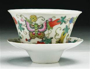TWO 2 CHINESE FAMILLE ROSE PORCELAIN TEACUP SAUCER