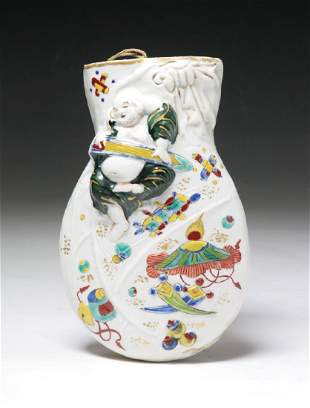 A Chinese Famille Rose Porcelain Wall Vase