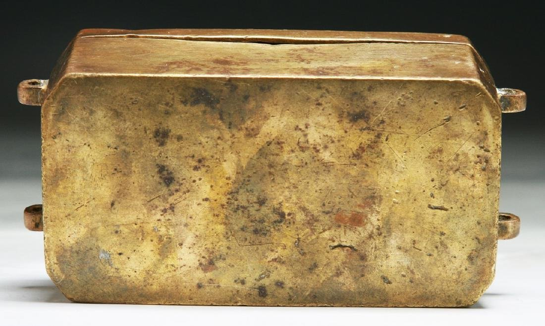 A CHINESE BRASS BOX WITH COVER - 5