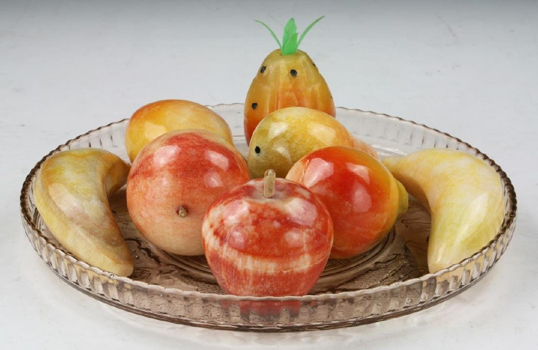 Eight (8) Stone Carved Fruits With Plate