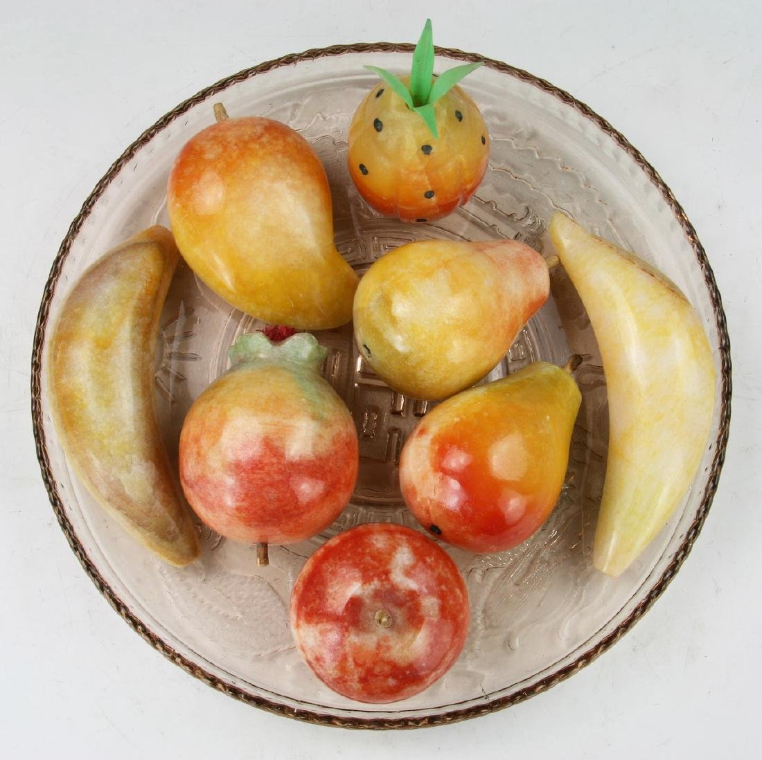 Eight (8) Stone Carved Fruits With Plate - 2