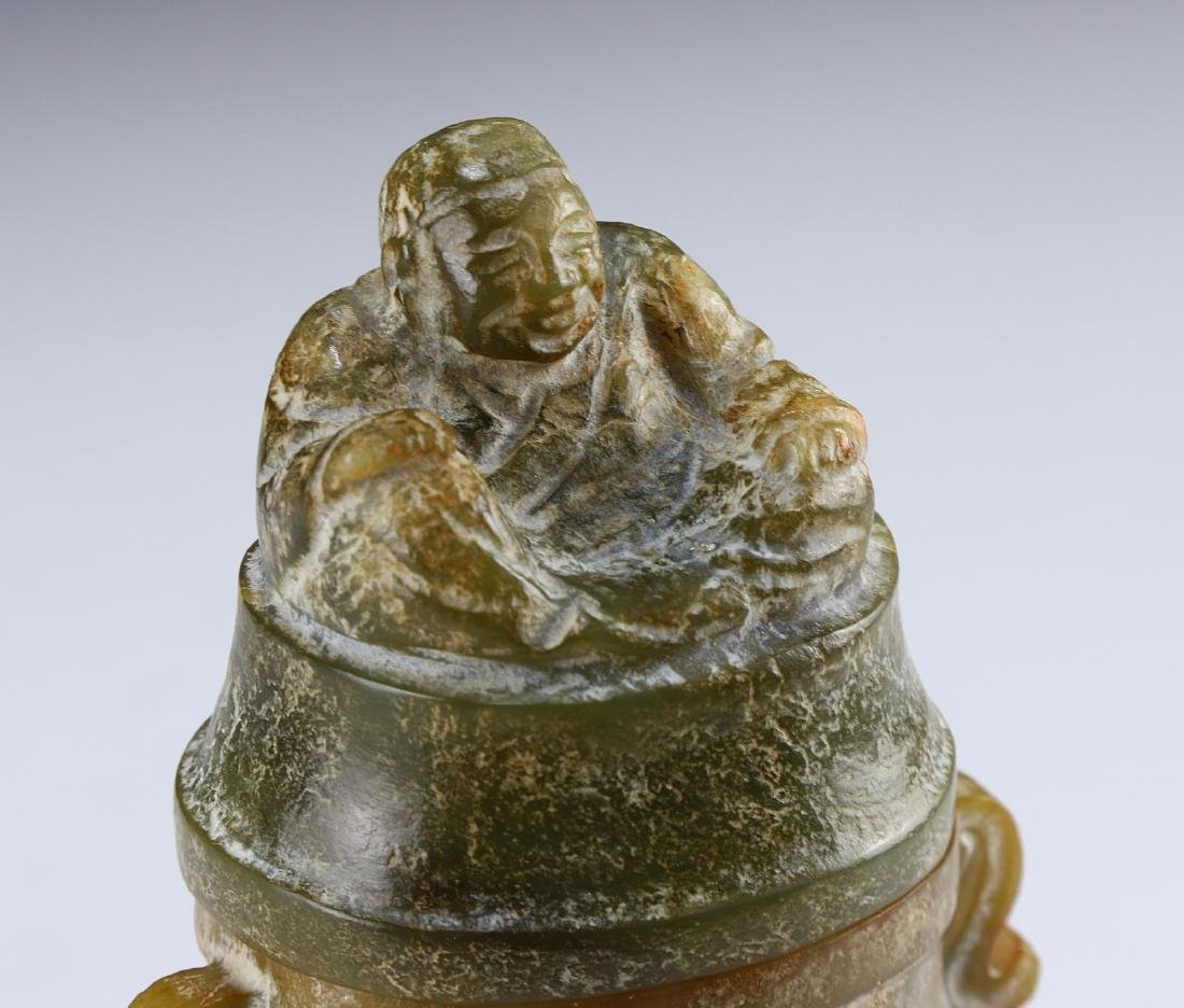 A CHINESE ARCHAIC JADE CARVED LIDDED VASE - 4